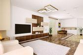 Interior of modern apartment panorama — Stock Photo