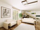 Interior of modern living room 3d render — Stock Photo