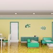Interior of modern apartment panorama 3d render — Stock Photo