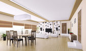 Interiör av modern lägenhet 3d render — Stockfoto