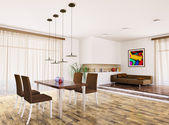 Interior of modern living room 3d render — Stock Photo