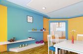 Orange blå matsalen 3d render — Stockfoto