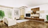 现代生活的室内房间 3d — 图库照片
