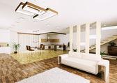 Interior of modern apartment 3d render — Stock Photo