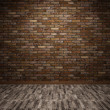 Interior with brick wall — Stock Photo