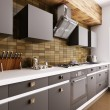 Stock Photo: Modern kitchen interior 3d