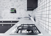 Kitchen worktop with gas stove — Zdjęcie stockowe