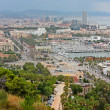 View of city buildings and port from Park Guell. Barcelona, Spain. — Stock Photo