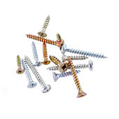 Screws on white background — Stock Photo