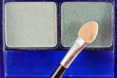 Close up of blush on white background and cosmetic brush — Stock Photo