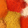 Various colourful spices of india close up background — Stock Photo