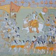 Stock Photo: Colorful indimural in fort at Jodhpur showing royal procession, including elephant and courtiers from Rajput era