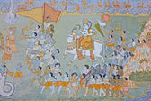 Colorful indian mural in the fort at Jodhpur showing a royal procession, including elephant and courtiers from the Rajput era — Stock Photo