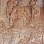 Sculpture at entrance of Cave at Badami, Karnataka, India, Asia — Stock Photo #13615549