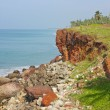 Tropical beach in Varkala, Kerala, India - Stock Photo