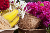 Flower and fruits in indian temple — Stock Photo