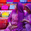 Lady in violet,  covered in paint on Holi festival — Foto Stock