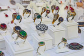 Turkish jewelry Store in istanbul - rings — Stock Photo