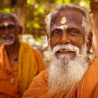 Holy Sadhu men  in saffron color clothing  blessing in Shiva Temple. — Lizenzfreies Foto