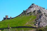 Genuese fortress in Sudak taken in Crimea, Ukraine, May — Stock Photo