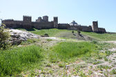 Genuese fortress in Sudak taken in Crimea, Ukraine — Stock Photo