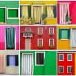 Colorful buildings in Burano island sunny street , Italy — Stock fotografie