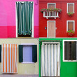 Colorful buildings in Burano island sunny street , Italy — Stock Photo