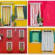 Stock Photo: Colorful buildings in Burano island sunny street , Italy