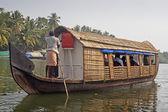 Houseboat, sightseeing boat at famous backwaters of Kerala — Stock Photo