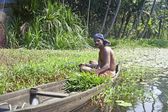 Man in canoe on Kerala Backwaters — Stock Photo