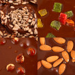Set of  hot chocolate with nuts and candies — Stock Photo