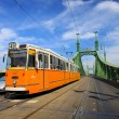 Tram coming from Freedom bridge, Budapest, Hungary — Stock Photo