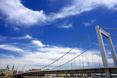 Budapest city, bridge and sky — Stock Photo