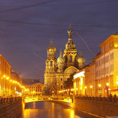 The church by the canal. White nights, Saint-Petersburg, Russia — Stock Photo