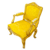 Elegant sofa of yellow chamois isolated — Stock Photo