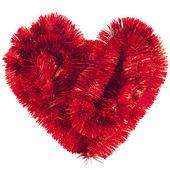 Guirlanda de natal vermelho formando coração — Fotografia Stock