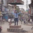 Officer regulate traffic in central Kathmandu — Stock Photo #36694199