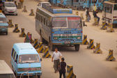 Traffic jam and air pollution in central Kathmandu — Stock Photo