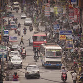 Traffic jam and air pollution in central Kathmandu — Foto de Stock