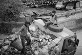 People working on garbage car — Stock fotografie