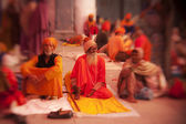 Sikh pilgrims in the Golden Temple during celebration Diwali day — Stock Photo