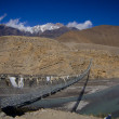 Bridge across mountain Nepal river — Stock Photo