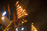 Ganga Aarti ritual (fire puja) — Stock Photo
