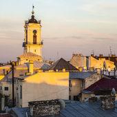 Clock tower in Chernivtsi city — Zdjęcie stockowe