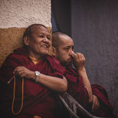 Tibetian monks — Stock Photo