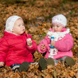 Two girl blowing bubbles outdoors Two girl blowing bubbles outdoors — Stock Photo