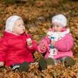 iki kız esen, açık havada iki kız üfleme kabarcıklar açık havada bubbles — Stok fotoğraf