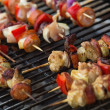 Sizzling barbecue sticks with meat and vegetables — Stock Photo