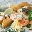 Roast salmon - fish — Stock Photo