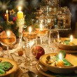 Christmas dinner table with christmas mood — Stock Photo